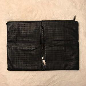 Oversized Black Zippered Soft Clutch
